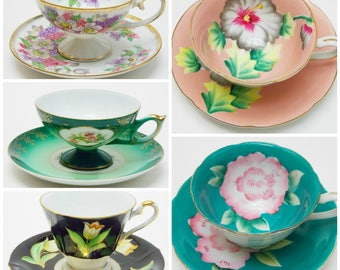 Collection of 5 Japanese Tea Cups and Saucers Vintage China Made in Japan Bridal Party Baby Shower Wedding Lot 2