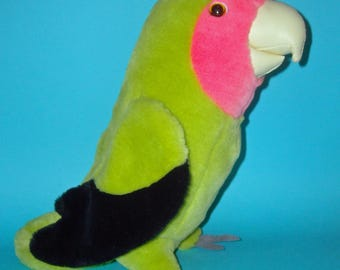 Collectible Rare Vintage Whiskas catfood advertising Plush Peach-faced Lovebird toy