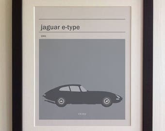 FRAMED Jaguar E-Type Print - Black/White Frame, Birthday, Anniversary, Father's Day, Christmas, Fab Picture Gift
