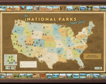Us Parks Map Etsy - Personalized us travel map