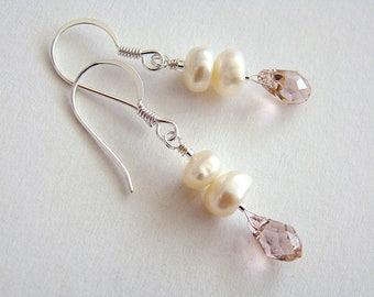 Vintage Rose Earrings, Rose Swarovski Crystal Drop Earrings, White Pearl Crystal Drop Earrings, Pink Swarovski Crystal Earrings