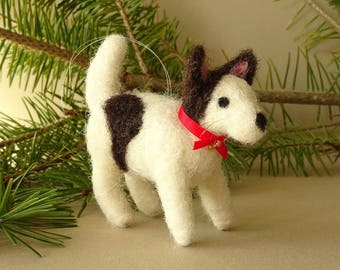 needle felted dog miniature figure, little puppy tree ornament for christmas, love dogs, pet owner holiday gift idea, wool soft sculpture