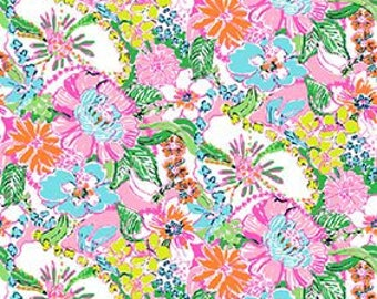 NOSEY POSEY print   9 X 18 or 18 X 18 inches  Lilly Pulitzer signature fabric