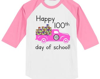 100th Day of School Raglan Vintage truck T Shirt with monogram, school name, or year - Celebrate 100 days of school!! 100 Books in truck!