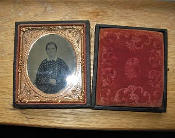 Victorian 1860's Ambrotype 1/6 Plate, Pretty Young Woman