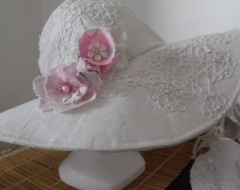 Linen and lace Cape Hat + pink pins