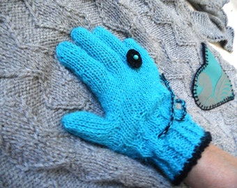 Turquoise and black Alpaca gloves, handmade