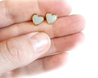 Sky blue/gold heart earrings • post earrings, heart earrings, resin earrings