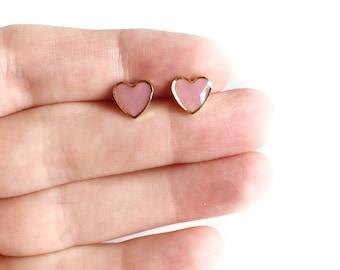 Pink/gold heart earrings • post earrings, heart earrings, resin earrings