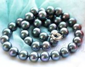 """New 10mm Black South Sea Shell Pearl Necklace 18"""" AAA+"""