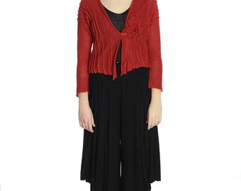 Artsy red linen short cardigan, S/M size.
