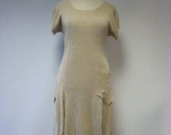 Casual taupe dress, L size. Made of pure linen.