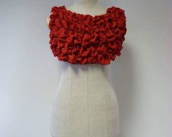 Exceptional one-of-a-kind artsy red woollen soft vest/bolero, S/M size. Only one sample.