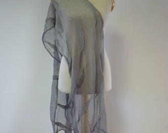 Artsy delicate linen scarf, perfect for gift.