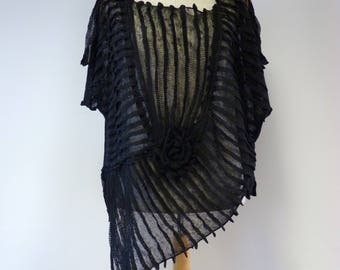 Fashion artsy black linen blouse, XL size.