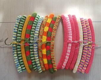 Set of 18 Crochet Hangers Handmade Wooden Hanger Vintage Hangers