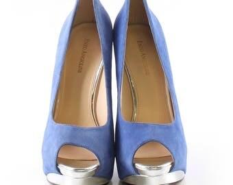Enzo Angiolini Blue Suede Heels