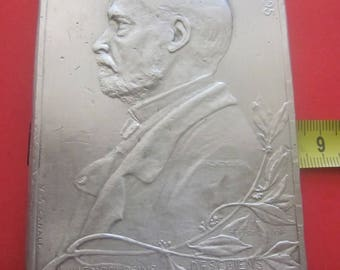 RARE French Commemorative Plaque  of 450 gr of Louis Pasteur for The Science Motherland-Humanity(1822-1895)Writer:V.S.Canale