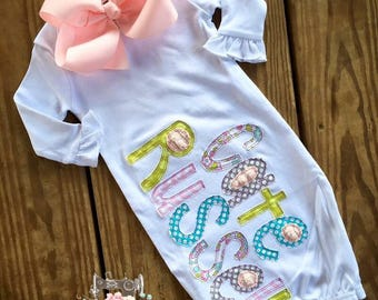 Appliqued name baby girl gown