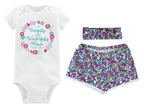 Fearfully and Wonderfully Made Girl Outfit Going Home Outfit Shorts Outfit Girl Summer Scripture Outfit Floral Outfit Beach Baby Shower Gift