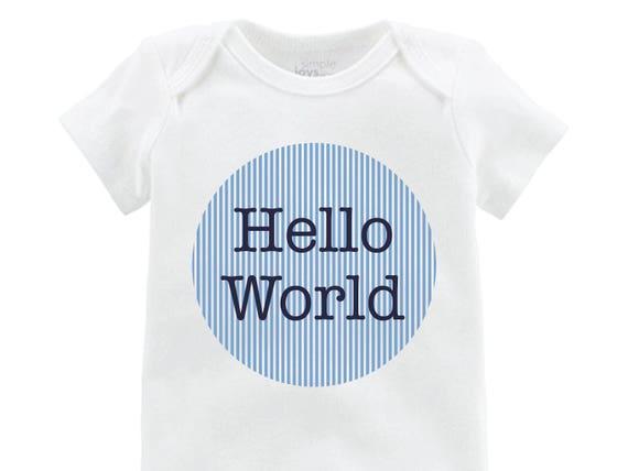 Boy Hello World Onesie Hello World Bodysuit Boy Coming Home Onesie Newborn Coming Home Bodysuit Hello World Boy Shirt Boy Newborn Shirt