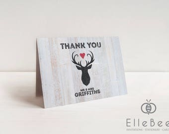 Stag Wedding Thank You Cards // Rustic Wedding Thank You Cards // Stag Thank You Cards // Highgate Collection // Elle Bee Design