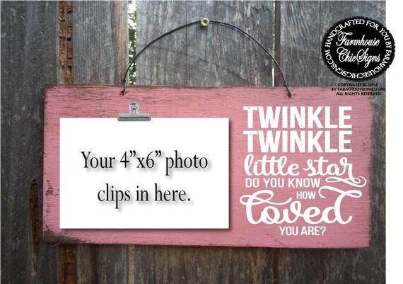 Twinkle Twinkle Little Star Rustic Photo Holder