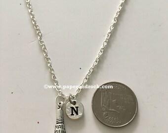 Manicurist initial necklace, fingernail polish jewelry, manicurist necklace nail polish jewelry, gift for manicurist, salon
