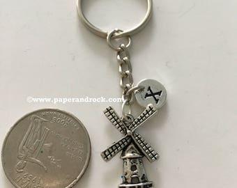 Windmill initial keyring, windmill jewelry, Dutch jewelry, Holland jewelry, windmill key chain, Holland key ring, Netherlands keychain