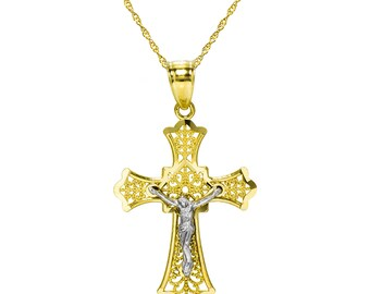 14K Two Tone Gold Jesus Christ Cross Pendant Necklace