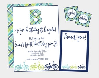 Bicycle Birthday Party Invitation. Printable Blue & Green Plaid Bike Invitation Set includes Invitation, Envelope Seals, and Thank You Cards