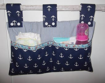 Crib bed ash blue anchor