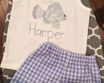 Tropical fish tank top and gingham shorts set