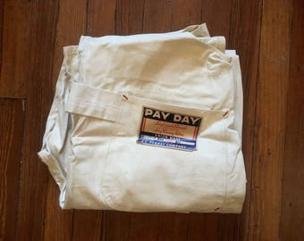 Vintage 1940s PENNEYS Pay Day Sanforized White Cotton Painters Work OVERALLS 40x32 NOS Deadstock + Tags Levis Lee Wrangler