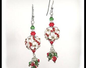 Christmas earrings, red and green earrings, holiday earrings, floral earrings, lampwork earrings, artisan lampwork beads, crystal earrings