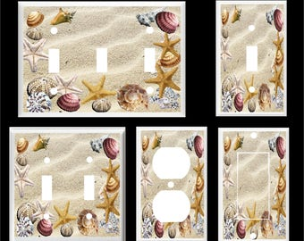 STARFISH SEASHELLS BEACH Sand #5 Light Switch Cover Plate or Outlet   Home   Decor  Free Shipping in U.S.!!!