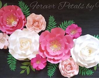 Set of 9 Paper Flowers Nursery/Wedding /Home Decor