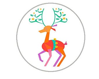 "Christmas Envelope Seals - 1.2"" Christmas Stickers - 144 Fun Holiday Stickers (Reindeer) - 25160"
