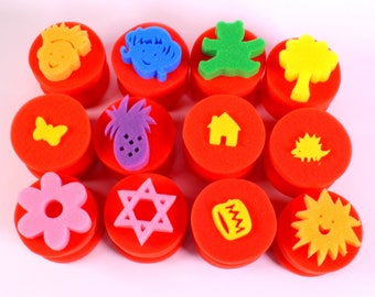 Assorted Shape Bright Sponge Dabbers Pack of 12 Large Washable Foam Painting Stamps with Handles
