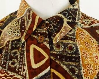 Vintage blouse  print blouse  size XL  oversized blouse   80s   70s   vintage fashion  