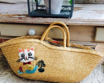 Cute vintage straw bag | 70s rattan bag with straw embroiderie| bag with cat| vintage Chinese straw bag| straw tote bag