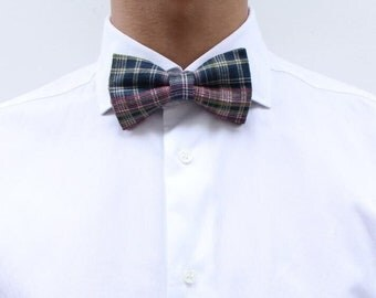 Colorful tartan bowtie blue pink green for men