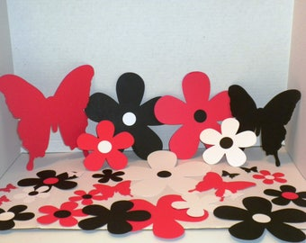 Daisy Flowers,Red,Black,White, Die Cuts, Paper Flowers,Butterflies, Scrapbooking, Wedding Decorations, Weddings,Embellishments, Decorations