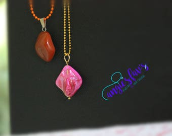 Ball Chain Necklaces, Pink Stone, Inspire Stone