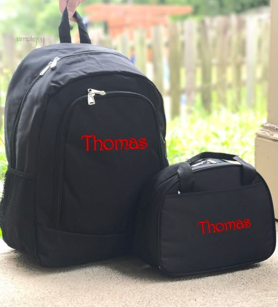 Solid Black Backpack Lunchbox Set Boys Backpack Personalized