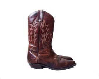 80s brown leather cowboy boots, size 6