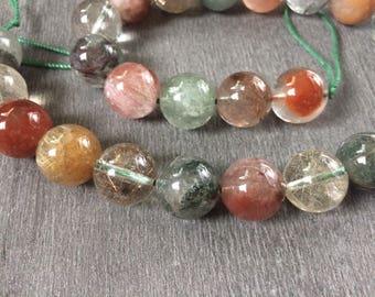 Full Strand Natural Multi-Colored Rutilated Quartz 16MM Round Beads
