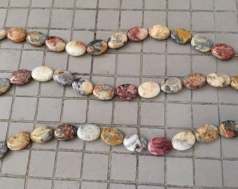 Full Strand Natural Fossil Coral Flat Oval Beads