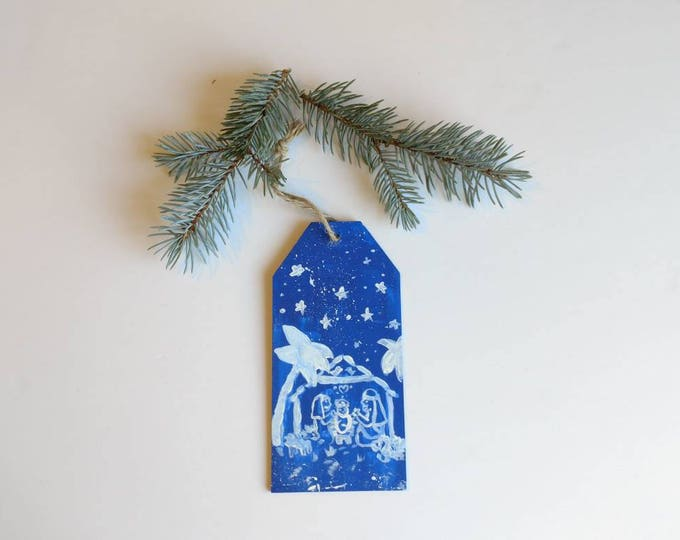 Featured listing image: Christmas tree ornament, hand painted manger scene on wooden plaque with yute string, holiday decorations, Nativity scene, holiday mantel