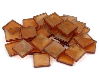 "Milltown Merchants 7/8"" (22mm) Amber Iridescent Glass Mosaic Tiles - Red Brown Bulk Assortment of Mosaic Tiles"